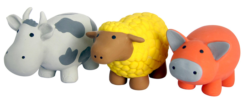 NOISE-FREE ANIMAL LATEX TOYS: COW, PIG or SHEEP