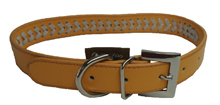 ORANGE LEATHER BRAIDED DOG COLLAR
