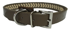 BROWN LEATHER BRAIDED DOG COLLAR