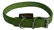 GREEN LEATHER BRAIDED DOG COLLAR
