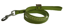 GREEN LEATHER BRAIDED DOG LEASH