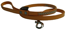 ORANGE LEATHER BRAIDED DOG LEASH